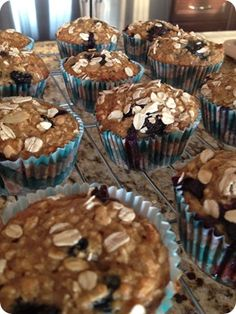 blueberry oatmeal muffins...healthy breakfast on the go!