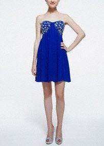 Strapless Chiffon Strappy Back Dress, Style 11819 #davidsbridal #homecoming2014 #homecomingdresses