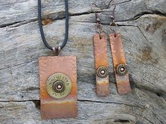 WINCHESTER 20 Gauge Shell Necklace and Earrings  by RusticSpoonful, $22.00 #pendant #copper #gunshell #jewelry #winchester #20gauge