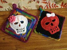 Crochet Sugar Skull Potholders