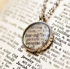 "Vintage Dictionary Words Necklace - ""Imagine"""