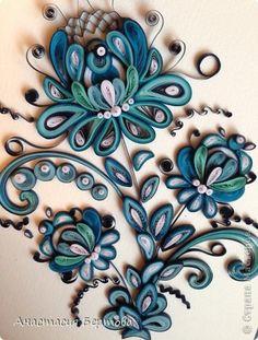 Pintura mural Diseño Quilling de Papel Por Gzhel fotos de la banda 7