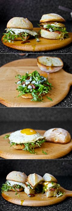 fried egg sandwich with bacon and blue cheese
