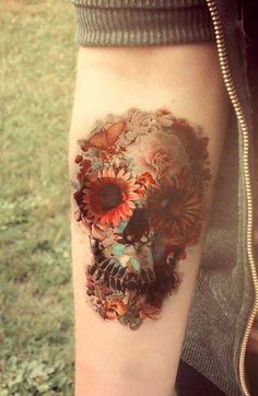 skull and flowers tattoo - love this!!! Beautifully done.