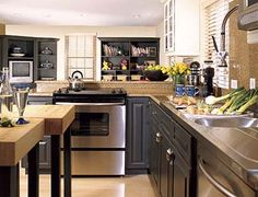 kitchen idea, cabinet colors, shelv, kitchen sinks, galley kitchens