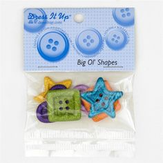Dress It Up Embellishment Buttons  Big Ol Shapes from @fabricdotcom  These novelty embellishment buttons are the perfect finishing touch to apparel and craft projects.  Buttons feature a 4-Hole attachment. Package contains at least 5 pieces.  Please purchase sufficient amounts as design may vary in the package.