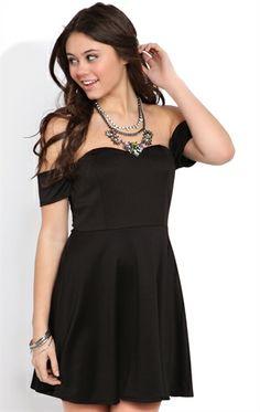 Deb Shops Black Off-The-Shoulder #Skater #Dress $23.03