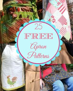 25 Free Apron Patterns.  patterns using kitchen towels, place mats, denim jeans, and fabric napkins.  sewlicioushomedecor.com #sewing #aprons