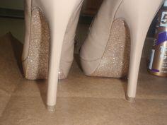 DIY glitter bottom shoes.