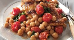Chicken Breasts with Skillet-Roasted Tomatoes and Chickpeas Recipe by Jamie Purviance