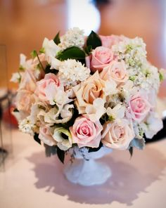 Lush pink and pastel centerpiece via Heavenly Blooms, antique glass