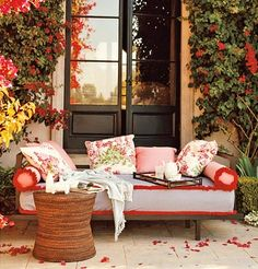 Comfortable and beautiful #LiveAlfresco #SummerResolutions bougainvillea, color, sofa pillows, outdoor live, outdoor room, patio, afternoon tea, place, porch