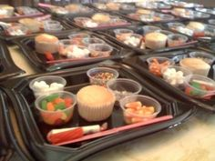 Cupcake Decorating trays for kids birthday party.