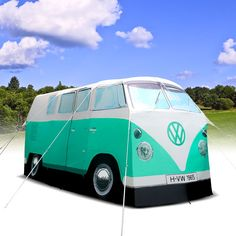 buses, beaches, mint green, campers, tent camping, birthdays, camps, camper tent, vw camper vans