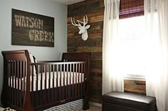 baby boy rooms, pallet walls, baby boys, deer heads, wood wall