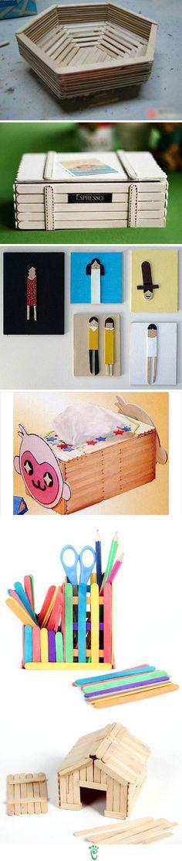 little boxes, diy crafts, craft sticks, popsicle stick crafts, people, craft ideas, popsicl stick, popsicle crafts, kid