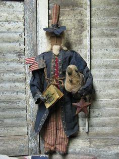 OLde Uncle Sam..$165.00  Available Sunday Jan 20th 11 am est  Direct From Folk Artist Sue Corlett  http://1897houseprimitives.blogspot.com/
