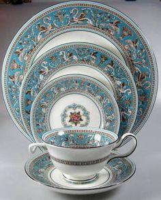 Antique Wedgwood Florentine Service for 12. Turquoise Blue. Bone China. 63 piece