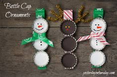 Bottle Cap ornaments - make big ones from the Dollar Store Bottle Cap craft kits or little ones with recycled caps!