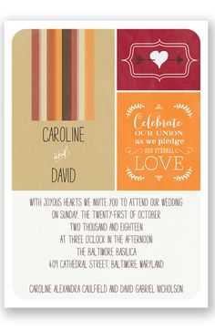Homespun Quilt Wedding Invitation by David's Bridal | Follow us and start pinning pretty paper options - from invitations and save the dates to programs and table numbers - for a chance to win $1,000 to InvitationsbyDavidsBridal.com. Enter here: http://sweeps.piqora.com/rsvpready