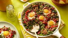 """Spring Peas with Eggs and Ham via Mary Sue Milliken - """"At my house, we kick off Easter morning with a rousing egg hunt that keeps everyone laughing. All the excitement revs up people's appetites, so I like to have a meal ready that takes a minimum of cooking. This baked casserole makes the perfect brunch. It pairs peas, garlic, and basil with peppers, eggs, and serrano ham. The dish goes well with chunks of country bread drizzled with olive oil and toasted or grilled."""""""