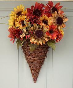 Fall Wreath - Wreath for Door - Fall Door Wreath - Summer Wreath - Sunflower Wreath - Sunflower Door Basket. $38.00, via Etsy.
