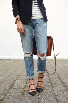 boyfriend jeans, denim jeans, outfit, jean jackets, flat shoes, stripe
