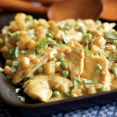 Chicken with Potatoes, Peas & Coconut-Curry Sauce
