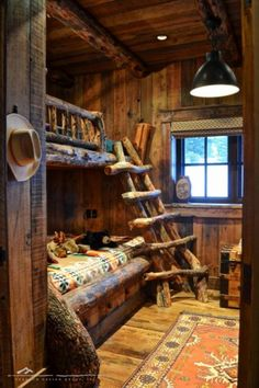 Rustic bunkbeds and ladder