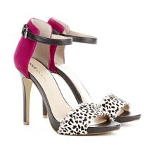 Open Toe Pink with Animal Print Heels *all the rage this season* #shoes #footwear #fashion #ladies #women #beauty