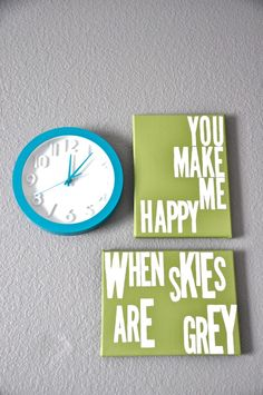 Green and turquoise wall pieces are great complements.  #turquoise #clock #green #wallart