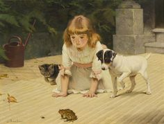 "Charles Burton Barber, 18 ½"" x 24""oil on canvas.     The piece is called Curiosity."