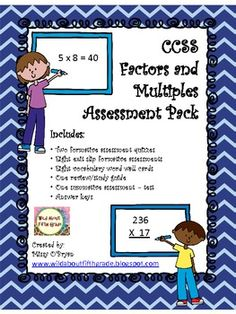 Common Core Factors and Multiples Assessment Pack 4.0A.4 $