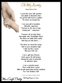 Fathers Day Poems From Daughter | ... Poetry • Father's Day Poem in child's voice (to daddy from daughter