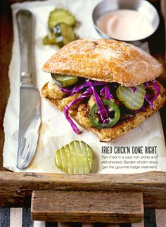 chik'n sandwich with spicy slaw