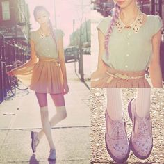 shoes, mints, outfits, pastels, fashion, doc martin, style, skirts, colors