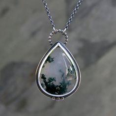 Teardrop Moss Agate Pendant in Sterling Silver, One of Kind Necklace, Underwater Ocean Scene, Sterling Silver Chain