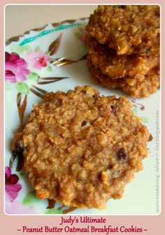 Watching What I Eat: Judys Ultimate ~ Peanut Butter Oatmeal Breakfast Cookies ~ Ingredients •3 ripe bananas, mashed until creamy •2 cups quick oats •1/2 cup peanut butter  •1/2 cup unsweetened applesauce •1/2 cup chopped walnuts •1/2 cup dried cranberries  •1/4 cup milk  •1 tsp vanilla extract •1 tsp ground cinnamon 350 for 18 min.