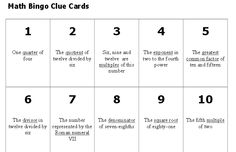 Math Vocabulary Bingo: This lesson provides students an opportunity to assess their understanding of mathematical vocabulary as they relate to key concepts from the five content areas. Through the use of a familiar game format, Bingo, students will identify numbers 0‑75 that correspond to mathematical descriptions from math vocabulary clue cards.