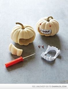 Cute Halloween Decor! Even cuter with glow-in-the-dark fangs