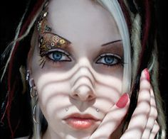 Dreads Hairstyle Make Up Makeup Piercing Red Hair Steampunk Style