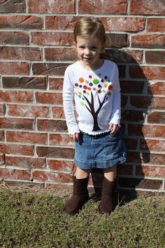 Fall Project -- Make a Tree Button Shirt! {with free pattern}