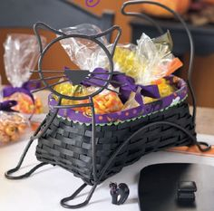 Meow! Your Halloween party will be purrr-fect with Longaberger's Black Cat Basket and Wrought Iron Set from 2009.