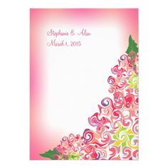 Colorful Pink Floral Art Wedding Invitation #wedding #invitations #flowers #floral #art #pink #zazzle