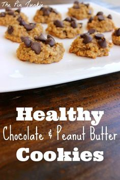 Healthy Chocolate Peanut Butter Cookies. No butter, eggs, flour, or sugar!