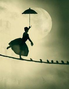 bird, mari poppin, silhouett, mary poppins, childhood memories, dream, magical places, umbrella, moon moon