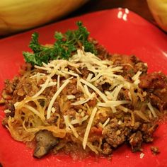 Italian Beef Casserole - Satisfy cravings for Italian foods with spaghetti squash, raw cheese, delicious herbs, and tomatoes.