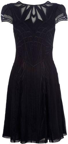 Karen Millen - Geometric Embroidery Black Dress