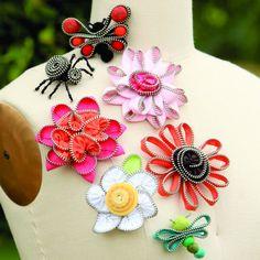 Cute zipper pins zipper flowers, indygo junction, idea, accessori, zipper crafts, gardens, zippers, sewing patterns, garden zip