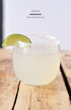 Fresh Lime Margaritas w/ a sweet & salty rim. Click for the full recipe!